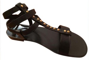 Saint Laurent Gladiator Boho Studded Leather Black Sandals