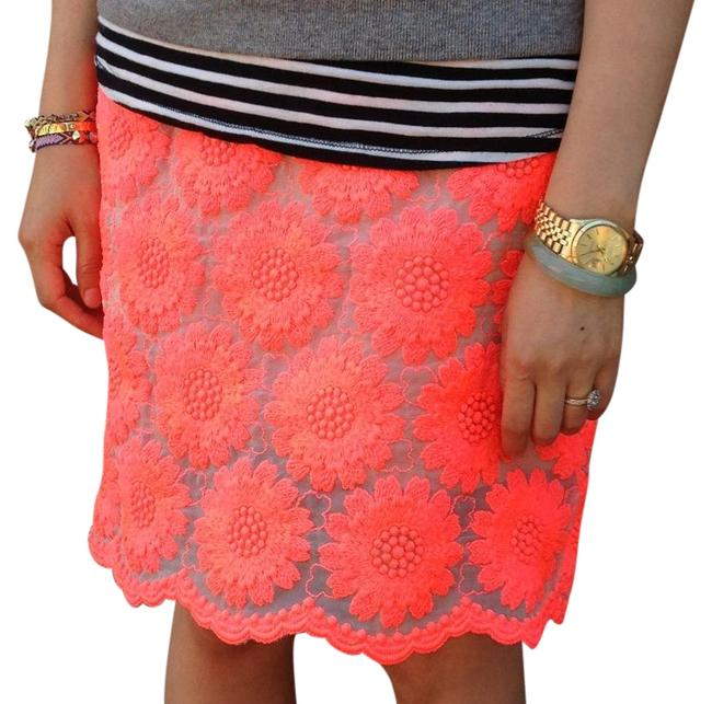 Item - Red Nude With Lining with Flowers Skirt Size 10 (M, 31)