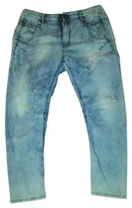 Diesel Denim Distressed Ankle-length New Relaxed Fit Jeans-Distressed