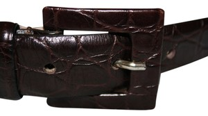 Max Mara NWT CROC EMBOSSED Leather Belt Brown Square Buckle Small 33