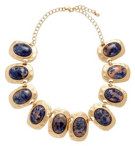 Kenneth Jay Lane Kenneth Jay Lane 22k Gold-Plated Sodalite Link Collar Necklace