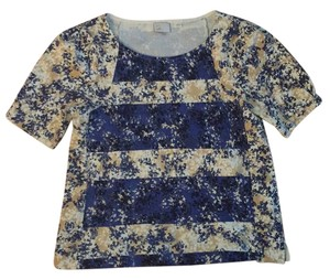 Anthropologie T Shirt Ivory/blue/gold