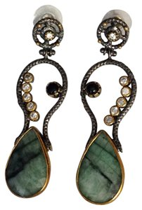 Sterling Malachite and cz drop earrings. Sterling Silver Drop Earrings