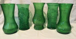 Set Of 5 Vintage Forest Green Glass Vases