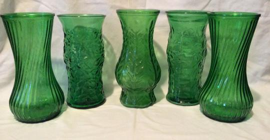 Green Set Of 5 Vintage Forest Glass Vases Reception Decoration