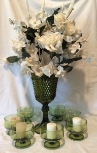 Beautiful Avocado Green Vase And Candle Holders Set