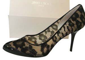Jimmy Choo Articolo Size 8 Black Patent Lace Black Lace Pumps