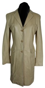 STRENESSE Leather Knee Length Ticking Buttercream Leather Jacket