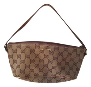 Gucci Brown with gold leather trim Clutch