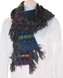 Steve Madden Steve Madden Fringe knit Scarf Purple multi cable knit sweater wrap teal