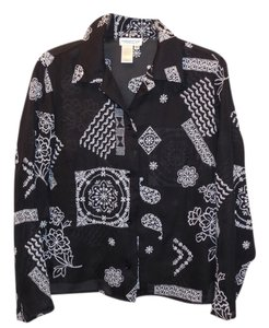 Coldwater Creek Embroidered Top Black
