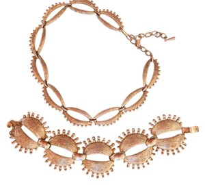 MONET Vintage 1960s Monet Atomic Retro Necklace & Bracelet Gold Plated Starburst