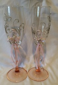 Beautiful Hand Decorated Pink Romantic Wedding Champagne Glasses Toasting Flutes