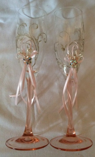 Pink Hand Decorated Romantic Champagne Glasses Toasting Flutes