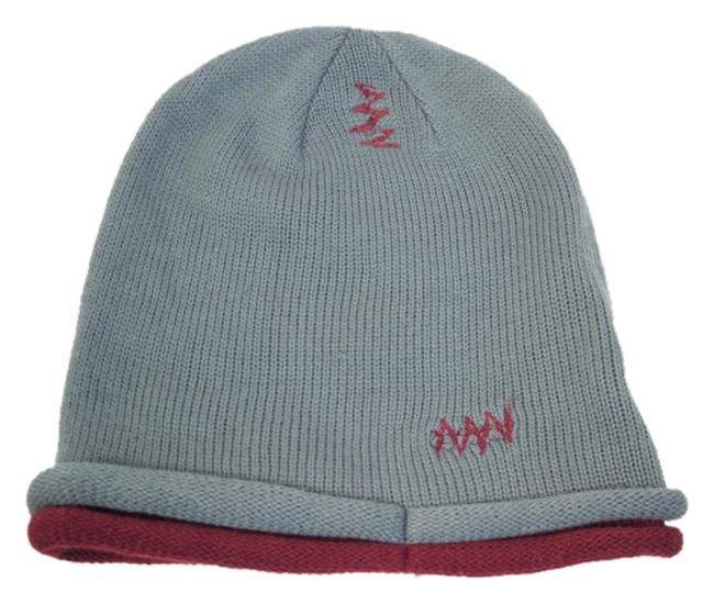Item - Gray Maroon Beanie Knit One Size Fits Most Skull Cap Hat