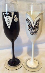Black and White Tall Hand Decorated Groom Romantic Wedding Champagne Glasses