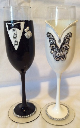 Black and White Tall H Decorated Groom Romantic Champagne Glasses