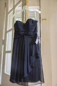 David's Bridal Black Strapless Crinkle Chiffon Dress