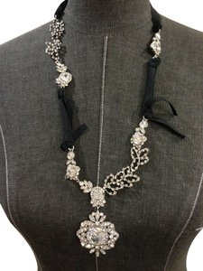Other Crystal and Black Ribbon Medallion Necklace