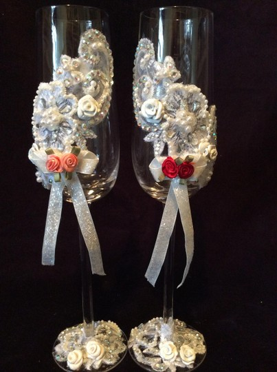 """White 10 1/2"""" Tall Lace Hand Decorated Romantic Champagne Glasses Ready For You To Add Your Colors."""