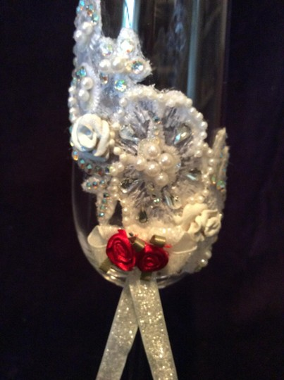 "White 10 1/2"" Tall Lace Hand Decorated Romantic Wedding Champagne Glasses Ready For You To Add Your Colors."