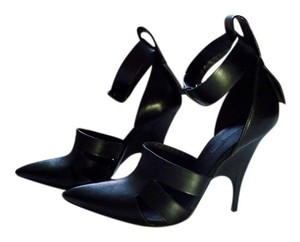 Alexander Wang Pointed Toe Cut-out Leather Ankle Strap Black Pumps