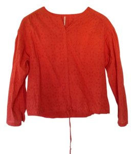 Free People Button Down Shirt Orange red