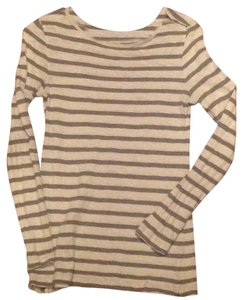 Ann Taylor LOFT T Shirt Grey and cream stripe