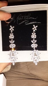 Mariell White Sparkling Marquise Cluster Drop Earrings
