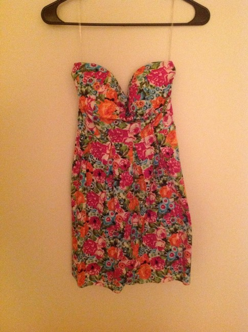 Feathers short dress Multi floral Cotton Floral Summer Strapless on Tradesy