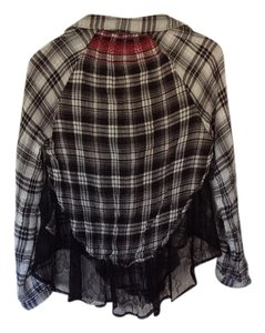 Free People Button Down Shirt Black and white plaid