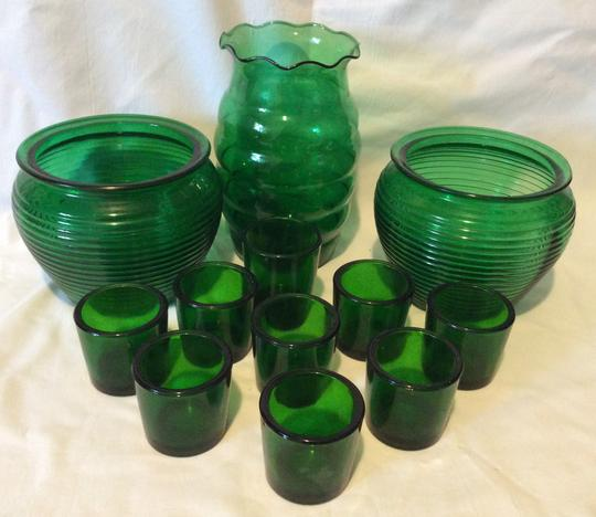 Lovely Set Of Vintage Forest Green Glass Vases And 9 Candle Holders