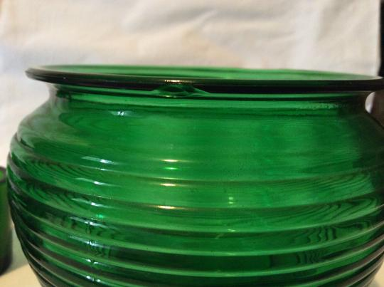 Green Lovely Set Of Vintage Forest Glass Vases and 9 Candle Holders