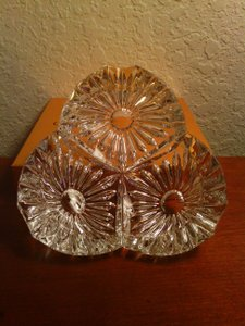 Vintage Clear Cut Crystal Floral Cigar Ashtray
