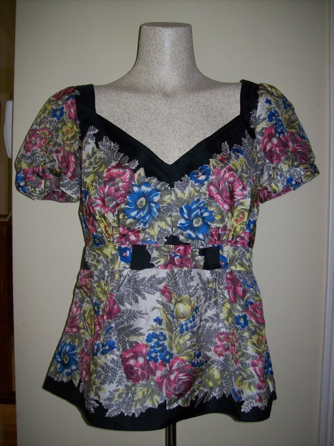 Anthropologie Floral Romantic Fitted Silk Top Multicolor