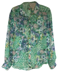 I. Madeline Gold Buttons Sheer Button Down Shirt Green Floral