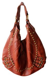 Isabella Fiore Boho Leather Studded Leather Tassels Hobo Bag