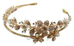 BHLDN Twigs And Honey Double Band Tiara #147 In Gold