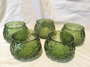 Lovely Set Of Five Vintage Forest Green Glass Vases