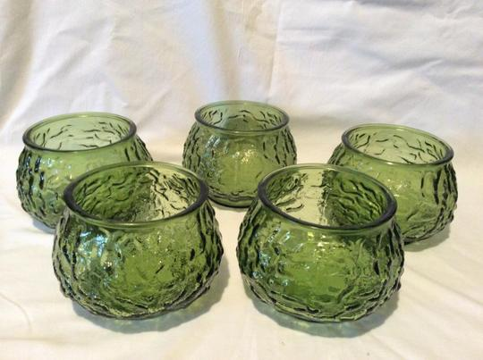 Green Lovely Set Of Five Vintage Forest Glass Vases