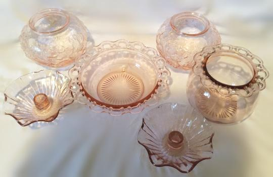 Pink Set Of Four Clear Glass Vases and Two Candle Holders