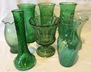 Set Of 8 Vintage Forest Green Glass Vases