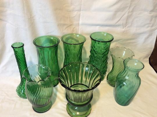 Green Set Of 8 Vintage Forest Glass Vases