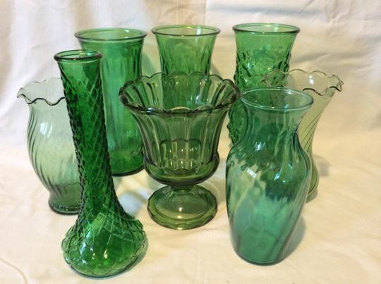Green Set Of 8 Vintage Forest Glass Vases Tradesy