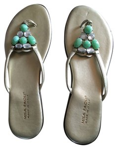 Mila Paoli Pewter with green beads Sandals