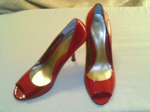 Nine West Leather Red Patent Pumps