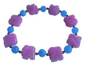 Beautiful 14k Yellow Gold Beads Blue & Pink Elastic Elephant Bracelet