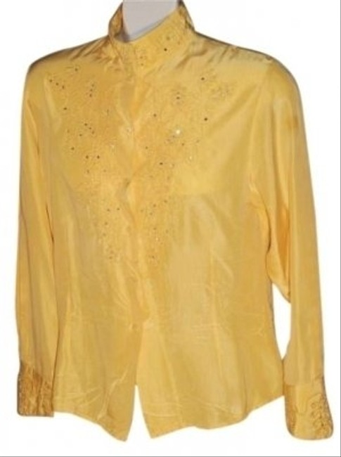 Other Silver Mesa Ladies 100% Silk Size S In Color With Embroidery And Embellishments Throughout Including Collar And Cuffs Top Yellow