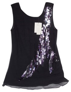 Miss Me Sequins Silk Top Black