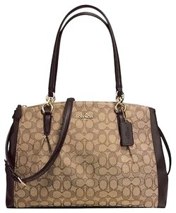 Coach 36721 F36721 Carryall Christie Madison Leather Large Hobo Satchel in Black Khaki Brown signature